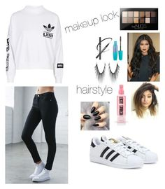 """""""kylie jenner hairstyle/makeup inspired"""" by jennifermendoza10 ❤ liked on Polyvore featuring adidas, Bullhead Denim Co. and Maybelline"""