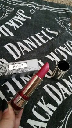 """Kat von d foiled love lipstick in """"Valentine"""" swatched, wiped with a clean paper towel, then sanitized. Super glittery shade."""
