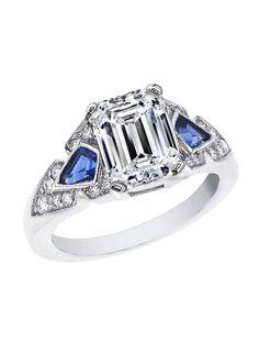 Emerald Cut Diamond Engagement Ring Blue Sapphire Shields Accents
