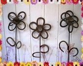 Horseshoe Garden Yard Art Flowers 5 feet to 6 ft Tall Rusty or 2 Color