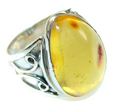 $55.15 Natural! Polish Amber Sterling Silver Ring s. 7 at www.SilverRushStyle.com #ring #handmade #jewelry #silver #amber