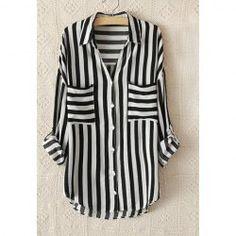 Vintage Shirt  Collar Loose-Fitting Strip Women's Shirt