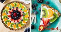 a recipe for a healthy, protein-packed, gluten free Greek yogurt fruit tart. It& so simple to throw together!Here& a recipe for a healthy, protein-packed, gluten free Greek yogurt fruit tart. It& so simple to throw together! Köstliche Desserts, Gluten Free Desserts, Healthy Desserts, Delicious Desserts, Dessert Recipes, Healthy Fruits, Fruit Recipes, Brunch Recipes, Healthy Fruit Tart Recipe