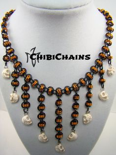 Necklace Barrel with skulls BO by Chibichains #Chibichains #Chainmail #Chainmaille #Halloween #Skulls #Barrel #Necklace