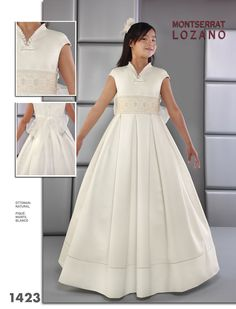 1comunion vestido realizado en otoman y detalles de vainica,