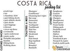 The Brave Little Cheesehead What To Pack For Costa Rica