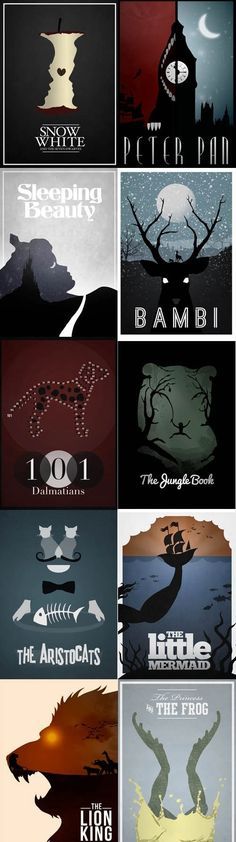 These are AWESOME!!! Minimalist Disney Film Posters. Love the unique designs.