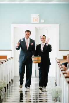 """""""Flower men"""" instead of flower girls...was a hilarious hit at the wedding! #weddings"""