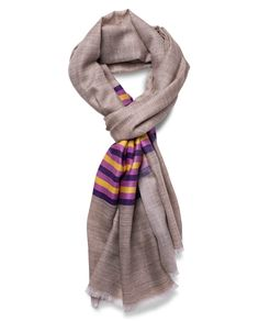 Marino-Silk Blend Banded Scarf in Purple & Yellow - Qind Design Blanket Scarf, Purple Yellow, Scarves, Silk, Band, Sweaters, Stuff To Buy, Design, Fashion