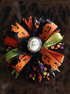 Halloween Skull Girls Hair bow $7.50 on eBay