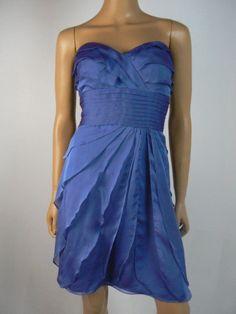 Adrianna Papell Periwinkle Blue Shutterpleat Chiffon Sheath Dress 10 NEW A843 #AdriannaPapell #Sheath #Cocktail