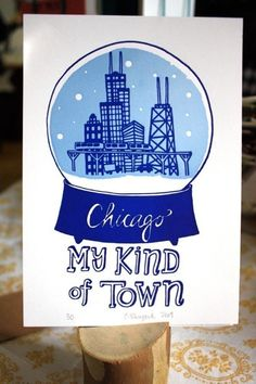 Chicago Snowglobe Letterpress Print via One Canoe Two.