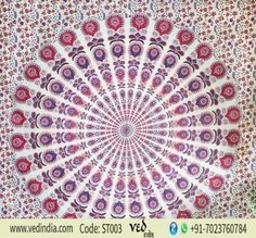 Indian Home Bedspread White Tapestry Peacock Mandala Printed Queen Wall Hanging Tapestry Bedding, Wall Tapestry, Mandala Tapestry, Bohemian Shop, Mandala Tapestries Wall Hangings, Hippie Decor, Twin Bedspreads, Red Bedspread, Indian Home