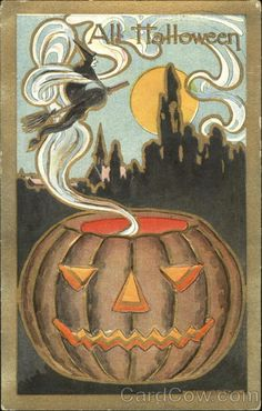 Halloween Wtich & Smoking JOL Embossed Early century Halloween greeting postcards were some good, good stuff much of the time.Early century Halloween greeting postcards were some good, good stuff much of the time. Retro Halloween, Halloween Fotos, Vintage Halloween Cards, Halloween Prints, Halloween Pictures, Holidays Halloween, Spooky Halloween, Happy Halloween, Halloween Artwork