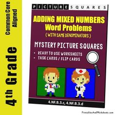 4th Grade Adding Mixed Numbers Word Problems Coloring Worksheets - Printables & Worksheets 4th Grade Fractions, 4th Grade Math Worksheets, Coloring Worksheets, Math Word Problems, Teaching Style, Math Words, Task Cards, Mystery, Numbers
