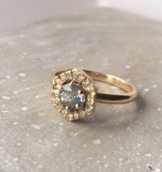 Hexagonal engagement ring by Vicky Davies Jewellery: East London fairtrade, ethical + handmade wedding jewellery Handmade Wedding Jewellery, Wedding Jewelry, Wedding Rings, Hexagon Engagement Ring, Engagement Rings, Vegas Dresses, British Wedding, Just Engaged, How To Make Rings