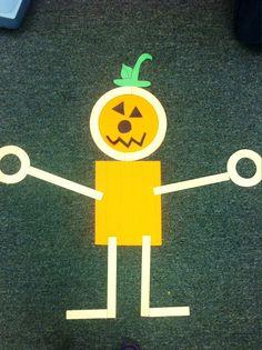 Mat man pumpkin preschool activity