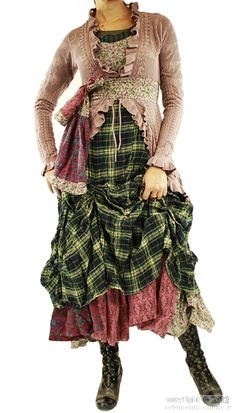 Layers with a steampunk urchin kinda look. Love the the plaid...wish list...what a great color for the holidays