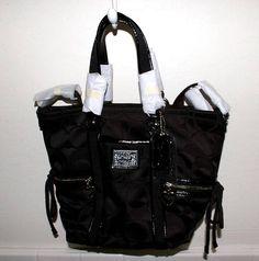 Coach Poppy Daisy Signature Pocket Tote Handbag Black w Silver Hearts F20101   eBay