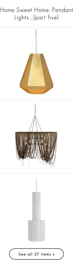 """""""Home Sweet Home: Pendant Lights ...{part five}"""" by skylarinc ❤ liked on Polyvore featuring home, lighting, ceiling lights, wall-mounted lamps, wall light, wall-mount lamp, brass light, brass wall light, handmade lamps and chain lamp"""