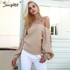 8d5d6391728f1 Sweater Gray Sleeve Batwing Jumper Loose Shoulder One Women Pullover Knitted  Winter Up Lace Sexy