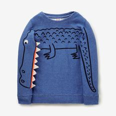 kids novelty Sleeve Sweater in blue with crcodile