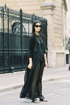 How to style sheer pieces for the real world | A sheer maxi paired with a classic cardigan