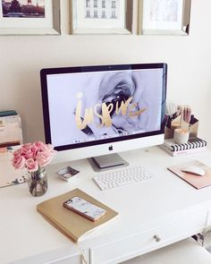Home Office Bedroom, Home Office Space, Home Office Design, Office Designs, 60s Bedroom, Bedroom Desk, Desk Space, Office Tumblr, Cute Office Decor
