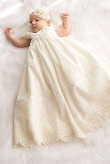 sukienki do chrztu - długa sukienka do chsztu wykonana z bawełny