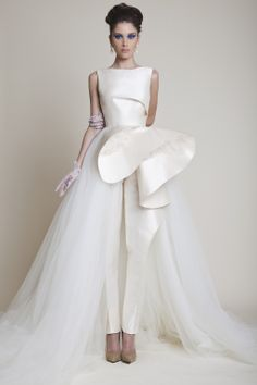 Azzi & Osta Offwhite Silk Faille and Tulle Bridal Jumpsuit