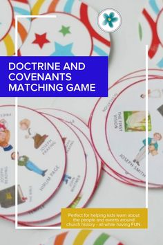 This Doctrine and Covenants game is perfect for helping kids learn about the people and events around church history - all while having FUN. #win-win. #matchigngame #doctrineandcovenants #ldsgeneralconference #comefollowme #ministeringprintables #ldsprintables Relief Society Lesson Helps, Relief Society Lessons, Relief Society Activities, Primary Activities, Enrichment Activities, Activities For Kids, Fhe Lessons, Primary Lessons, Lds Seminary