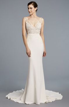 Fit and flare Anne Barge wedding dress: http://www.stylemepretty.com/2017/05/01/most-beautiful-spring-2018-wedding-dresses/