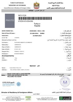 See A #Sample Of #Dubai Visit Visa With All Information About The #Visa Validity, Visa Duration And Passport Validity #Requirement For #Application.