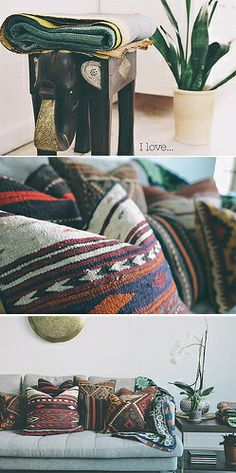 Kilim cushions, I must have these on my new leather couch!