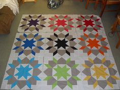 Swoon quilt with solids... same colours just a pop in the middle