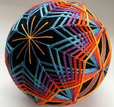 Custom Made to Order orange yellow purple turquoise japanese temari  carousel ribbons - hand embroidered thread ball home decor unique mod
