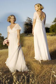 77493ce3eecf6 A-Linie V-Ausschnitt Rüsche-Ärmel plissiertes Chiffon Brautkleid für  Schwangere - € 135 - Brautkleider - online Kaufen. Wedding Dresses ...