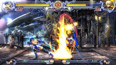 Screenshot of the fighting game Blazblue  the HUD as a very cool futuristic design and could be used in a similar fashion for the Star Clash HUD