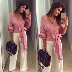 """8,870 Me gusta, 48 comentarios - Blog Trend Alert (@arianecanovas) en Instagram: """"♥️ Toda de @evabellaoficial ♥️ Calça branca com a camisa mais linda da vida.. tricoline listrada &…"""""""