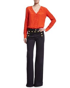 Veronica Beard Embroidered Long-Sleeve Top & Wide-Leg Sailor Pants