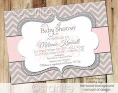 Chevron Monogram - Pink and Gray Grey - Baby Shower Invitation - Baby Girl - PRINTABLE Invitation Design on Etsy, $20.00