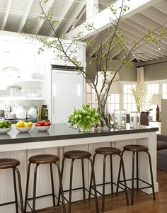 50 Kitchen Design Ideas from Ina Garten .this is the ceiling I want to plan with vaulted ceilings and open beams + white Kitchen.nice and clean look Barn Kitchen, Country Kitchen, New Kitchen, Kitchen Decor, Kitchen Ideas, Kitchen Island, Kitchen Stools, Hidden Kitchen, Kitchen Storage