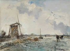 Johan Barthold Jongkind (Lattrop 1819-1891 La Côte-Saint-André) | Patineurs près d'un moulin, Hollande | 19th Century, Paintings | Christie's