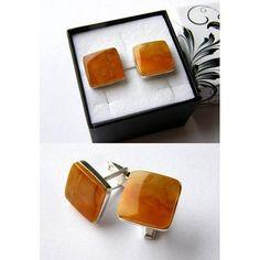 Cufflinks for Men genuine Baltic Amber Silver 925