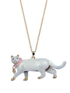 #lesnereides #N2bylesnereides #jewelry #necklace #enamel #animal #cat #white #cute Shop on #lesnereides-usa.com