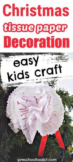 Christmas decorations are fun and easy to make with tissue paper. Decorate paper with colorful glitter glue and ribbon in this simple holiday activity.