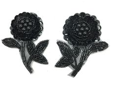 """Flower Pair with Black sequins and Beads 2.5"""" x 2"""""""