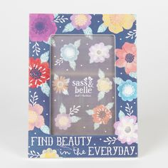 ea99a168fa2d Sass   Belle blue and floral painted wooden photo frame with the sentiment  painted to the