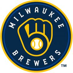 Milwaukee Brewers Primary Logo - An M and a B in the shape of a baseball glove in navy, royal blue, and yellow inside a circle with team name written around it Brewer Logo, Buster Posey, Tampa Bay Rays, Milwaukee Brewers, Milwaukee Bucks, American League, Oakland Athletics, St Louis Cardinals, Baltimore Orioles