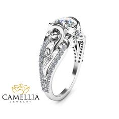 14K White Gold Diamond Engagement Ring Leaf by CamelliaJewelry $1,350.00